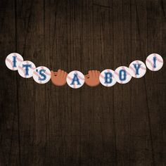 IT'S A BOY Baseball Baby Shower Banner by designink on Etsy, $2.25                                                                                                                                                                                 Más
