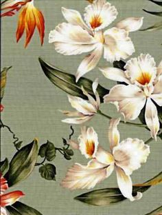 70waiakea Tropical Botanical Vintage Hawaiian Fabric Hawaiian orchid & bird of paradise flowers, cotton non-upholstery barkcloth fabric.