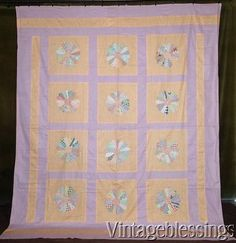 "$88 Large Vintage 30s Peach Purple Dresden Plate QUILT TOP Feedsack Prints 89x75"" www.Vintageblessings.com"