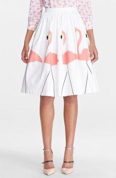 Head over heels for flamingos! Love the Alice + Olivia midi puffed skirt.