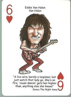 EDDIE VAN HALEN - Oddball ROCK & ROLL Playing Card by EDDIE VAN HALEN. $4.49. MINT Condition Card ... Very Nice Looking! ... Originally part of a deck of caricature-style playing cards ... Rather tough to find as a single card ... Same size as a regular trading card (2.5 inch by 3.5 inch) ... Back of card has a generic design ... No manufacturer/year or card number listed ... Nice Hard to Find Addition to your Collection ... Nice Gift Item for any Fan !! ... Accepted...