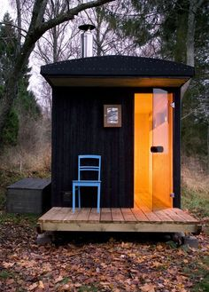 Just for fun I thought you might like this 64 sq. micro cabin that is actually used as a sauna. Yes, a sauna, but in Finland and other places in Europe having a sauna outside is a social thing. Mobile Sauna, Outdoor Sauna, Sauna Design, Finnish Sauna, Cabin In The Woods, Cabins And Cottages, Shed Plans, Little Houses, Tiny Houses