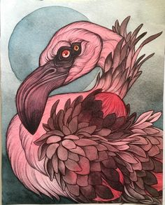 """An+original+8""""+by+10""""+painting+in+watercolor,+acrylic,+and+pen+&+ink+on+archival+heavy+weight+cold+press+watercolor+paper.+An+ode+to+my+favorite+of+the+pink+feathered+birds,+the+lesser+flamingo.+"""