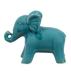 @Overstock.com - Turquoise Ceramic Elephant - Celebrate your love of all things Elephantidae with this fun ceramic elephant. A rich turquoise glaze gives this statue a modern look that is sure to match your decor, while the wide-legged stance of the animal provides stability to prevent falls.  http://www.overstock.com/Home-Garden/Turquoise-Ceramic-Elephant/7573736/product.html?CID=214117 $27.04