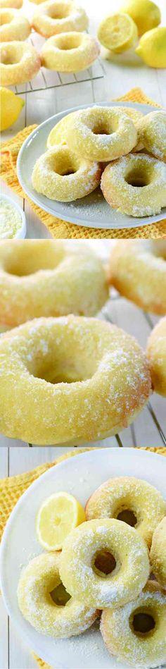 Lemon Sugar Baked Donuts - cake, cookie, dessert, donut, lemon, recipes, vanilla