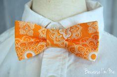 Boys Orange and White Medallion Print Bow Tie by becauseimme, $14.00