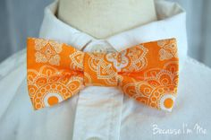 Boys+Orange+and+White+Medallion+Print+Bow+Tie+by+becauseimme,+$14.00