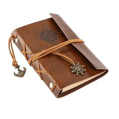 LEORX Vintage Pirate Anchor PU Cover Looseleaf String Bound Blank Notebook Travel Journal Diary *** See this great product.