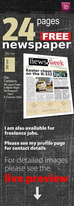 #24 Pages Free #Newspaper - #Newsletters Print Templates Download here: https://graphicriver.net/item/24-pages-free-newspaper/535012?ref=alena994