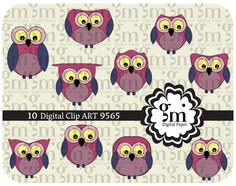 Owl, Owl Clip Art, Owl Clipart, Owl Digital Paper, Owl Digital, Instant Download, Pink Owl, Owl Decor - pinned by pin4etsy.com