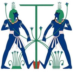 Hapi Represented as Hap-Meht (Upper Egypt) and Hap-Reset (Lower Egypt) Uniting Egypt by Tying the Lotus on One Side (Upper Egypt) and Papyrus on the Other Side (Lower Egypt) to the Sema Hieroglyph Sign for Unity. Wikipedi