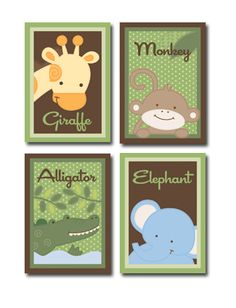How cute are these for the walls? I am doing green and brown walls. The theme is jungle animals!