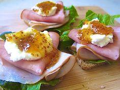 Ham Ricotta Sandwiches with Apricot Mustard