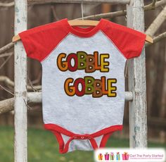 Thanksgiving Outfit - Gobble Gobble Shirt - Boy or Girl Happy Thanksgiving Shirt - Red Raglan Tshirt or Onepiece - Happy Turkey Day Shirt