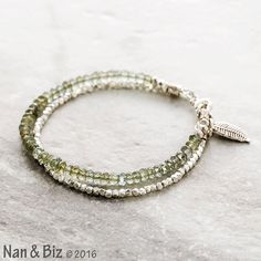 Moss aquamarine bracelet, sage green aquamarine, Thai Hill Tribe silver bracelet, skinny stackable bracelet, March birthstone jewelry by NanandBiz