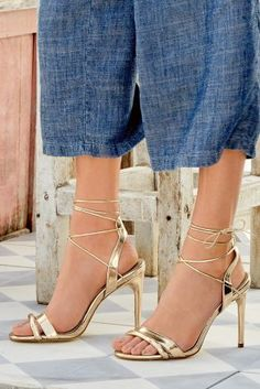 Have you ever seen shoes so gorgeous!? Our NEW gold wrap heels are the heel of the summer for definite ;)
