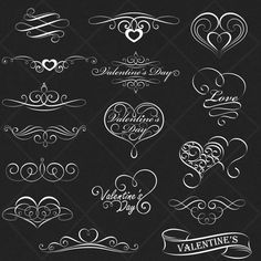 INSTANT DOWNLOAD 16 Chalkboard Valentine Heart Digital Frames Ornate Vintage Wedding Invitation Clip Art Scrapbook Art Decor COMMERCIAL Use