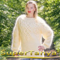 BOUTIQUE  ivory cream hand knitted mohair sweater by supertanya