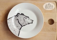 Bear plate - hand illustrated plate  by WooodlandFactory on Etsy #quirky #wild #animal #dessert #sideplate #funny #cute #dish #forest #woods #grizzly #fauna #present #gift #cartoon #christmas #christmasgift #pottery #ceramics #crockery  #etsy #etsygift