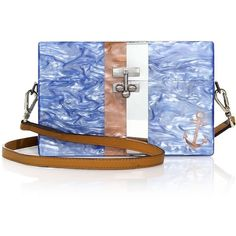 Edie Parker Shelly Small Striped Acrylic Trunk Shoulder Bag ($1,765) ❤ liked on Polyvore featuring bags, handbags, shoulder bags, apparel & accessories, iris, stripe purse, kiss-lock handbags, striped purse, stripe handbag and blue shoulder bag