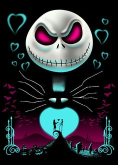 """A Night of Love"" by Vincent Trinidad Jack Skellington from The Nightmare Before Christmas Halloween Town, Halloween Skull, Halloween Witches, Happy Halloween, Nightmare Before Christmas Wallpaper, Nightmare Before Christmas Tattoo, Nightmare Before Christmas Characters, Tim Burton Kunst, Tim Burton Art"