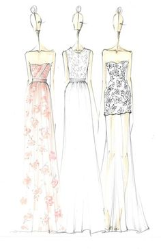 Fashion design sketches - Erin Fetherston floral printed dress drawings; fashion illustration #sketch