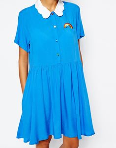 Image 3 ofLazy Oaf Button Front Shirt Dress With Rainbow Embroidery And Cloud Collar