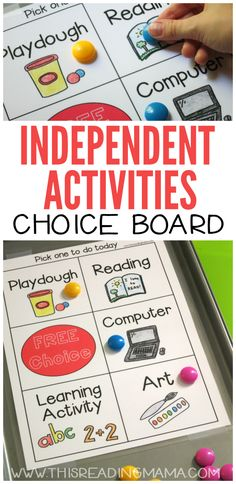 Independent Activities Choice Board - Great for Younger Kids | This Reading Mama
