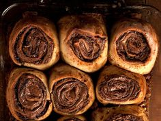 This recipe from Max and Eli Sussman is a decadent update of the classic cinnamon bun, adding chocolate-hazelnut Nutella for a gooey finish. Nutella, Kai, Bun Recipe, Chocolate Hazelnut, Bread Baking, Cinnamon, Breakfast, Healthy, Desserts