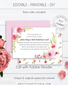 Floral Baby Shower Book Request, with lovely and glamorous watercolor floral design with roses in vintage style.This beautiful book request card template listing is for instant download EDITABLE PDF and PRINTABLE JPG files so you can download it right away, DIY edit and print it at home or at your local copy shop by Amistyle Art Studio on Etsy