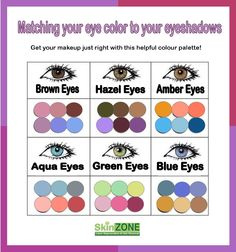 Get your eyeshadow colors spot on every time with this helpful eye color/shadow chart! Simply match your eye color to those shown on the chart and use these shades for a knock out look!   Skin Zone offers a range of fabulous eyeshadows by Da Vinci that will leave you looking fresh and youthful. Pop into our store for more beautiful makeup and skincare products .  http://skinzone.com.au/
