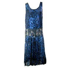 Spectacular Cobalt Blue Sequined and Beaded Gown 1920s Evening Dress, Blue Evening Gowns, Blue Ball Gowns, Designer Evening Dresses, Blue Gown, 1920s Dress, Vintage Dresses, Vintage Outfits, Vintage Fashion