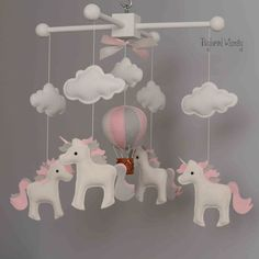 Items similar to Unicorn Mobile - Hot Air Balloon Mobile - Custom Mobile (ships in weeks) on Etsy Baby Mädchen Mobile, Felt Mobile, Baby Mobiles, Felt Crafts, Diy And Crafts, Unicorn Mobile, Diy Y Manualidades, Baby Couture, Hanging Mobile