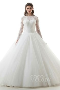 e8075d5dda44 Latest Ball Gown Illusion Natural Cathedral Train Lace and Tulle Ivory Long  Sleeve Open Back Wedding Dress with Appliques and Beading