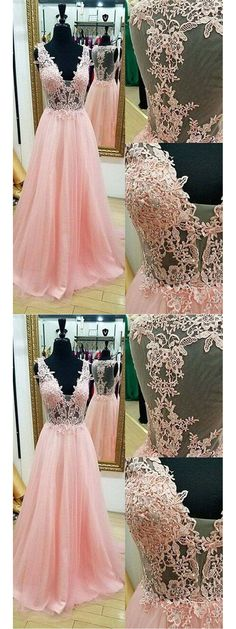 Chic Pink Prom Dresses A-line Floor-length Appliques Long Prom Dress/Evening Dress JKL222
