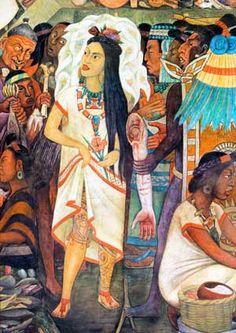 Detalle del mural México-Tenochtitlan visto desde el mercado de Tlatelolco, 1945. Diego Rivera
