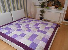 patchwork veľká deka 200x200 smotavovo - fialovo-bežová