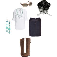 Jean skirt, white blouse, brown boots & a splash of turquoise.