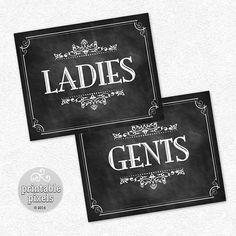 Restroom Signs Ladies Gents 8x10 Chalkboard by PrintablePixels, $7.00