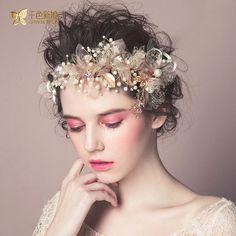 Купить товар Позолоченные повязка на голову женщины зажим для волос перо…
