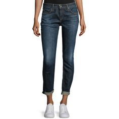 Rag & Bone/Jean Dre Cropped Boyfriend Jeans (2 295 SEK) ❤ liked on Polyvore featuring jeans, blue, cropped jeans, 5 pocket jeans, zipper jeans, slim fit straight leg jeans and slim fit blue jeans