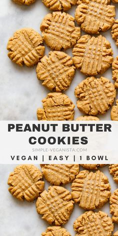 Vegan Peanut Butter Cookies - Easy to make and easier to eat thick soft and chewy homemade peanut butter cookies made in 1 bowl with peanut butter flour sugar vanilla and almond milk are the best! Desserts Keto, Vegan Dessert Recipes, Whole Food Recipes, Snack Recipes, Healthy Cookie Recipes, Flour Recipes, Cake Recipes, Vegan Mac And Cheese, Vegan Treats