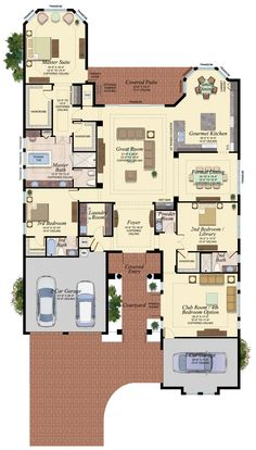 Luxury New Homes in Boca Raton House Layout Plans, Family House Plans, Best House Plans, Dream House Plans, House Layouts, House Floor Plans, My Dream Home, Building Plans, Building A House