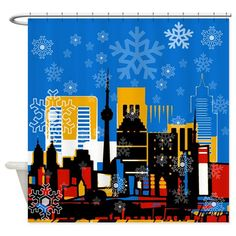 Decorate your living room to celebrate the season with this It features images of the world's most famous landmarks and buildings. Giant fall into these landmarks to say that the spirit is everywhere. Christmas Items, Best Christmas Gifts, Holiday Shower Curtains, Snowflakes Falling, Christmas Poster, World Images, Make Your Own Poster, Modern Artwork, Tool Design