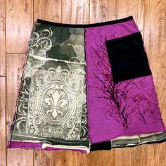 Upcycled bohemian style skirt, Upcycled clothing, Tshirt skirt, woman's upcycled clothing, Boho skirt by Theupcycledcloset on Etsy