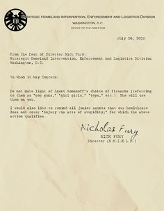 Hilarious Memos from the Desk of Nick Fury