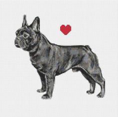 French Bulldog Cross Stitch Pattern Instant PDF Digital Beaded Cross Stitch, Cross Stitch Charts, Cross Stitch Designs, Cross Stitch Patterns, White Crosses, Needlepoint, French Bulldog, Embroidery, Beads