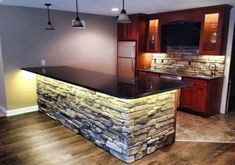 24 Trendy home bar basement interiors Home Bar Rooms, Diy Home Bar, Bars For Home, Kitchen Bar Design, Home Decor Kitchen, Interior Design Kitchen, Basement Bar Designs, Home Bar Designs, Stone Kitchen Island