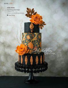 luxury wedding cake designers black and orange cake with baroque details – Lace Wedding Cake Ideas Luxury Wedding Cake, Elegant Wedding Cakes, Elegant Cakes, Beautiful Wedding Cakes, Gorgeous Cakes, Wedding Cake Designs, Wedding Cupcakes, Pretty Cakes, Halloween Wedding Cakes