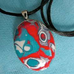 Oval Pendant Necklace. KILIA 7. In Red by ABergieCreation on Etsy